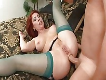 anal licking mature milf pussy redhead rimming stocking