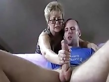 jerking mammy mature sucking threesome amateur close-up granny handjob