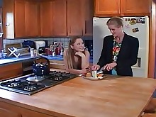 mature milf old-and-young strapon teen big-tits kitchen lesbian