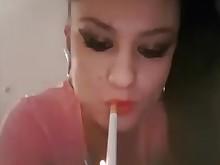 brunette milf smoking