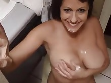 amateur babe big-tits blowjob boobs brunette cum cumshot fetish